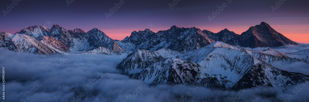 Fototapeta Sunset in Kopa Kondracka in Polish Tatra Mountains in winter snow weather conditions