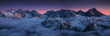 Sunset in Kopa Kondracka in Polish Tatra Mountains in winter snow weather conditions