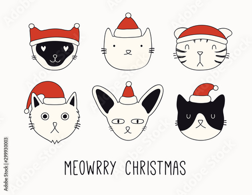 Montage in der Fensternische Abbildungen Hand drawn card, banner with cute cats faces in Santa Claus hats, text Meowrry Christmas. Vector illustration. Line drawing. Isolated objects on white background. Design concept holiday print, invite.