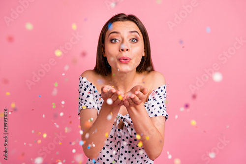 Photo of beautiful cute nice girl sending kiss to her beloved one while isolated Canvas Print