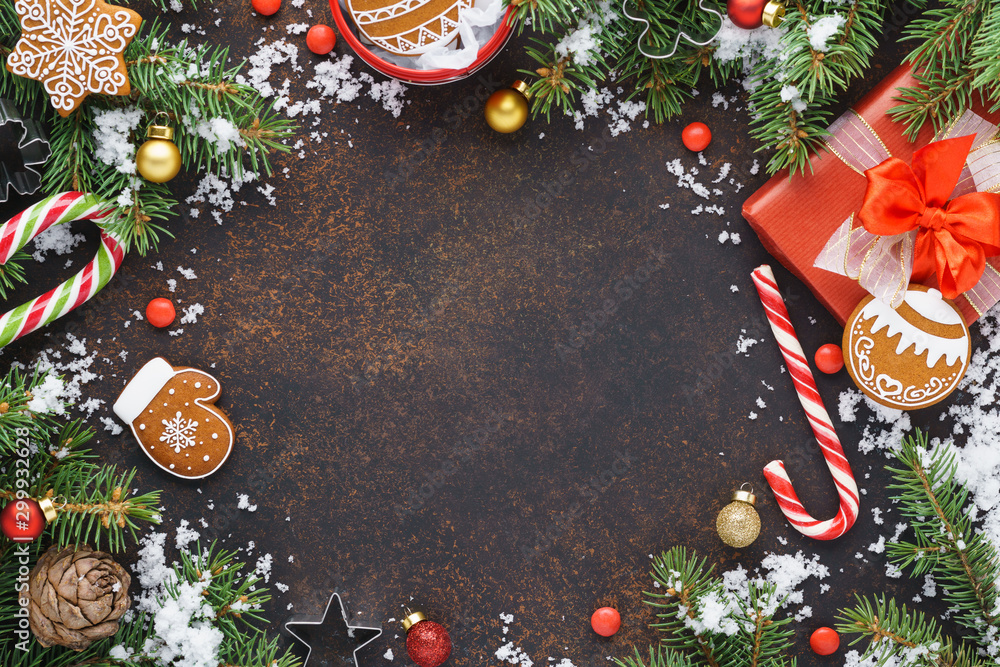 Fototapety, obrazy: Christmas frame background with snow, gift box and decoration.