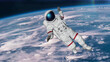 The astronaut hits planet Earth. Elements Of This Video Furnished By Nasa. 3D rendering.