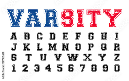 Varsity distressed font, college alphabet, sport font, letters and numbers Wallpaper Mural