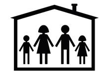 Silueta De Familia En Casa