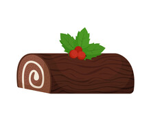 Christmas Roll With Cream In The Form Of A Log. Isolated Vector Illustration.