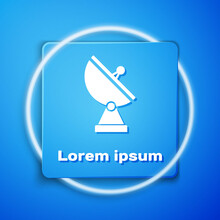 White Radar Icon Isolated On Blue Background. Military Search System. Blue Square Button. Vector Illustration