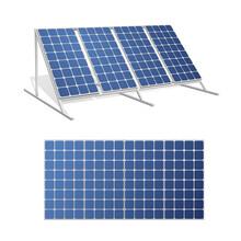 Solar Panels Realistic 3d Vector Illustrations Set