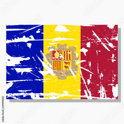 Andorran flag with scratches, vector flag of Andorra. Wallpaper Mural
