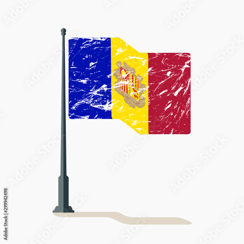 Photo Andorran flag with scratches, vector flag of Andorra waving on flagpole with shadow