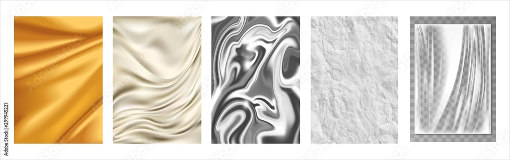 Fototapety, obrazy: Gold fabric, silk texture, silver foil, white paper, transparent plastic film. 3d realistic textures, vector set. illustration - Vector.