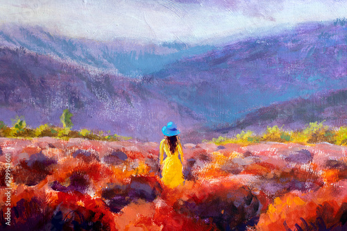 Beautiful girl in a yellow dress stands in a flower field, lavender field. Summer warm flower landscape - acrylic oil painting on canvas.