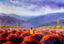 Impressionism Acrylic Oil Painting On Canvas. Beautiful Girl In A Yellow Dress Stands In A Red Flower Field, Lavender Field. Summer Warm Flower Landscape Illustration