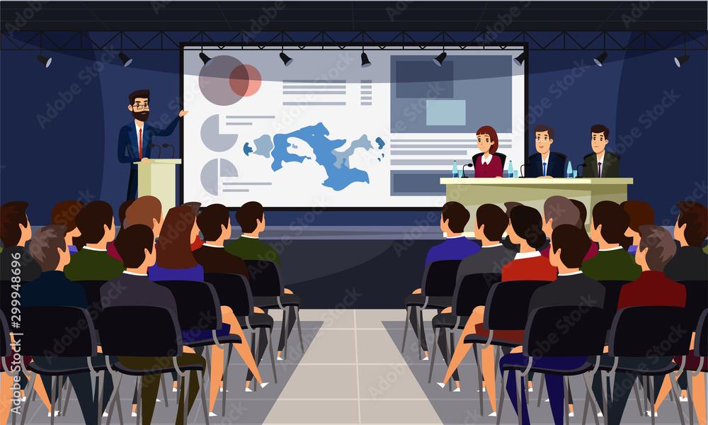 Fototapeta Business conference flat vector illustration