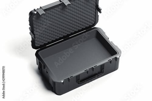 Realistic open black plastic case isolated on white background Billede på lærred