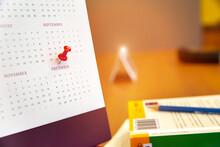 December Calendar Concept Of Planner Purpose For Business Event.