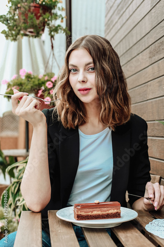 young woman in a cafe