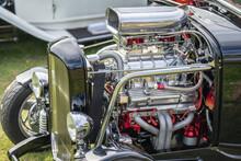 Vintage Car Roadster Engine.Hood Scoops On A Car.