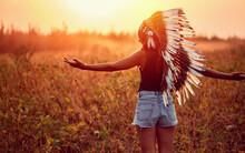 American Indian Girl In Wild N...