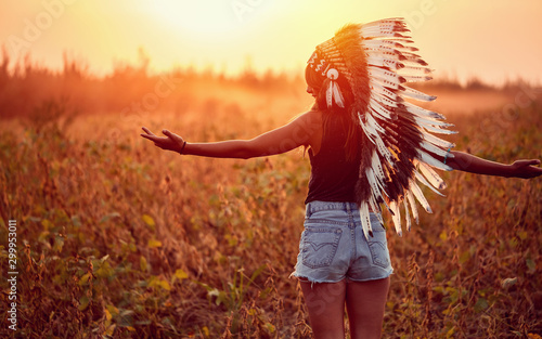 Photo American Indian girl in wild nature at the sunset.
