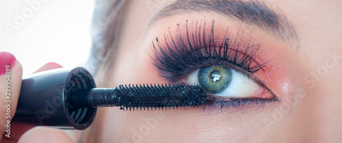 Makeup professional artist applying mascara on lashes of model eye Canvas-taulu