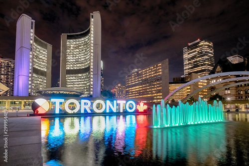 Nathan Phillips Square at night with Toronto Sign and City Hall Building Canvas Print