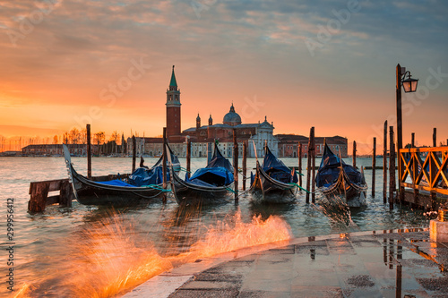 Wall Murals Gondolas Sunrise at the Grand Canal in Venice, Italy