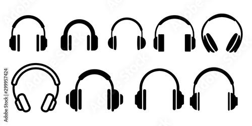 Obraz na plátně  Headphones music listen speakers headset icons set