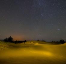 Night Sandy Desert Under A Starry Sky, Outdoor Background