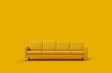Yellow Leather Sofa Isolated O...