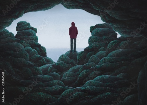 Fototapeta  Surreal scene backpacker alone with the sea, lonely concept illustration