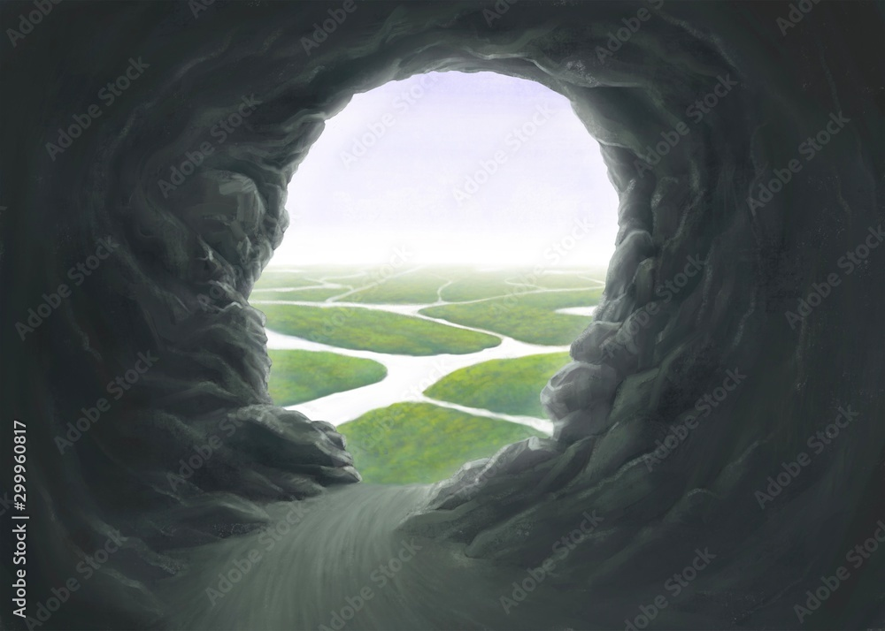 Surreal spiritual and freedom concept, Human head cave entrance with the river, fantasy painting