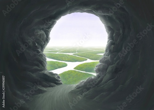 Obraz Surreal spiritual and freedom concept, Human head cave entrance with the river, fantasy painting - fototapety do salonu