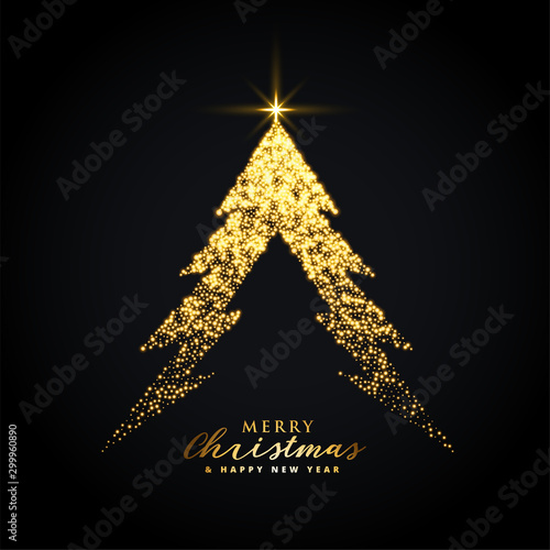 Fototapeta golden glowing merry christmas tree creative design obraz