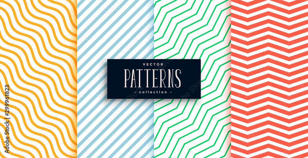 Fototapeta collection of geometric minimal lines pattern set