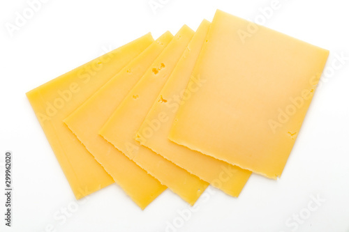 Fotografia Cheese slice isolated on the white background.