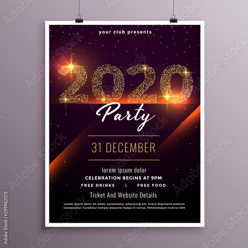 Fotomural  stylish happy new year party flyer template design