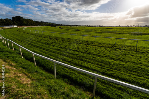 Fotografía  Vibrant green grass of horse racing track in the evening sun