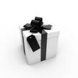 canvas print picture - Geschenk schwarz mit Anhänger