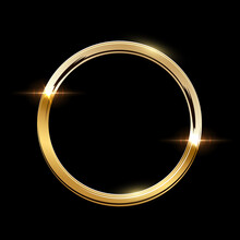 Golden Ring With Shadow Isolated On Black Background. Vector Golden Frame.