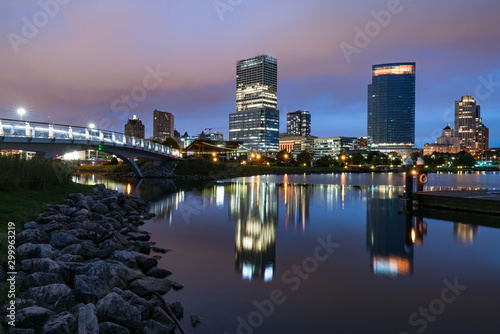 Night Skyline of Milwaukee, Wisconsin from along the Hank Aaron Trail in  Lakesh Canvas Print