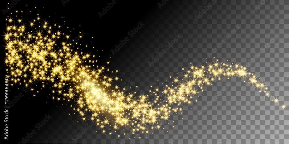 Fototapety, obrazy: Golden glittering star way vector illustration
