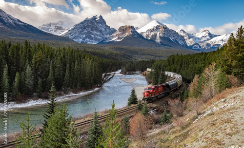Train in the Valley at Morant's Curve in Banff Canada