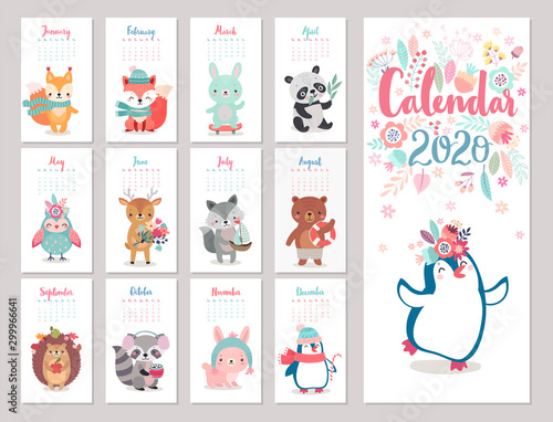 Calendar 2020 with Boho Woodland characters. Cute forest animals.