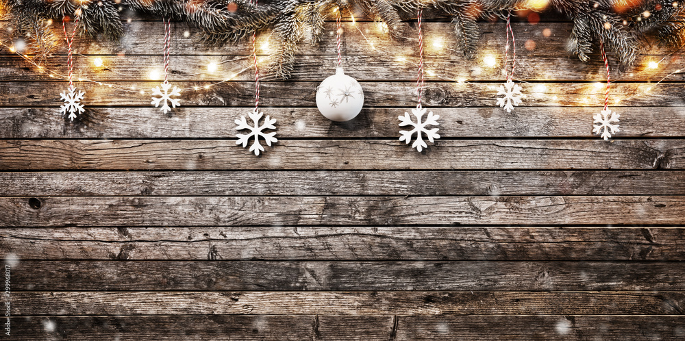 Fototapety, obrazy: Decorative Christmas garlands with free space