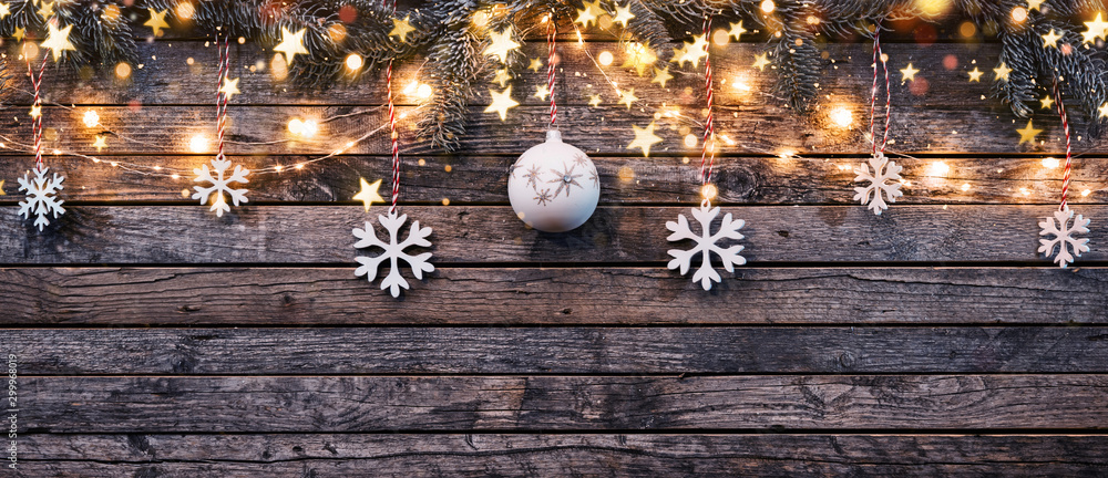 Fototapeta Decorative Christmas garlands with free space