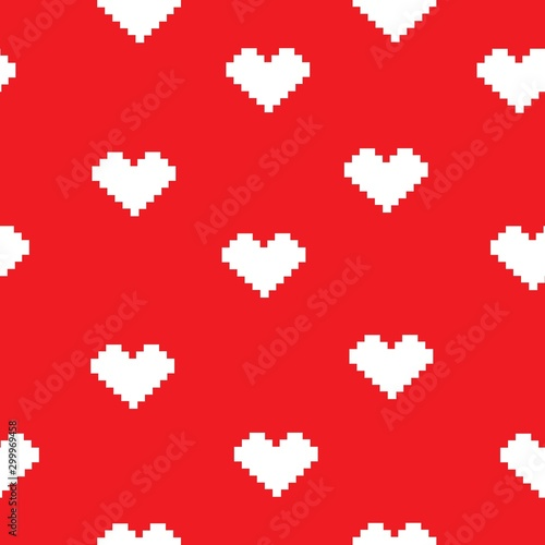 Fotobehang Pixel Heart doodles seamless love pattern. Hand drawn brushed hearts. Background texture for valentine's day.