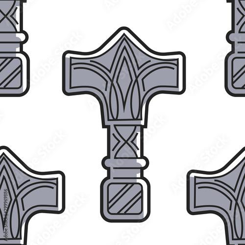 Fotografía  Vikings weapon seamless pattern Mjolnir hammer of Thor