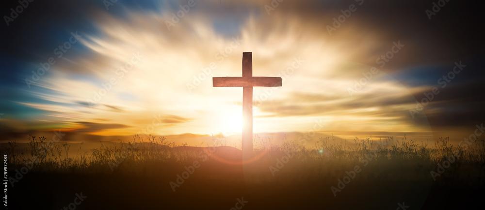 Fotografie, Obraz Cross at sunset
