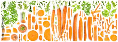 Obraz Carrot Slice and Leaf Collection - fototapety do salonu