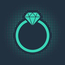 Green Diamond Engagement Ring Icon Isolated On Blue Background. Abstract Circle Random Dots. Vector Illustration